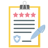 A checklist with star ratings icon