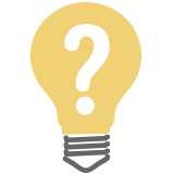 A lightbulb icon with a question mark inside