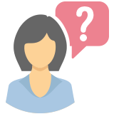 A woman with a question mark by her head icon