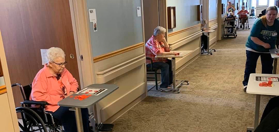 Residents Playing Bingo in the Hallway