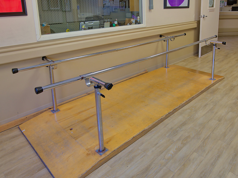 Parallel bars in the rehabilitation room.