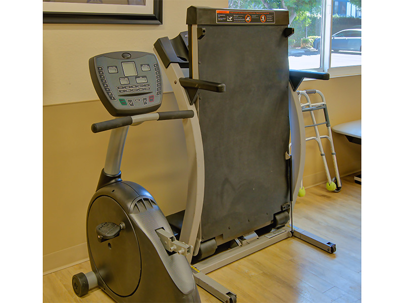 Rehabilitation equipment in the rehab room.