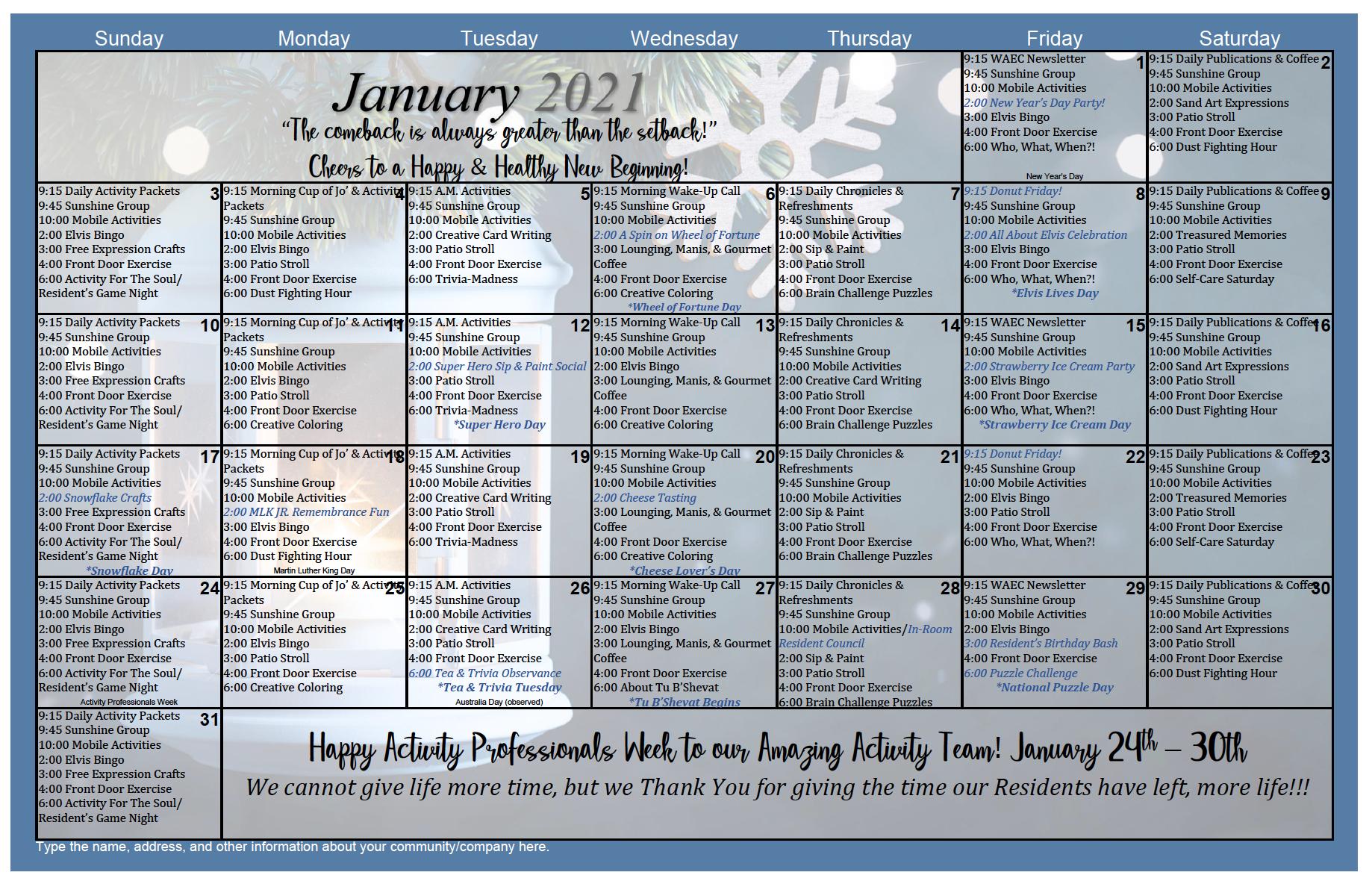 January Calendar For West Anaheim