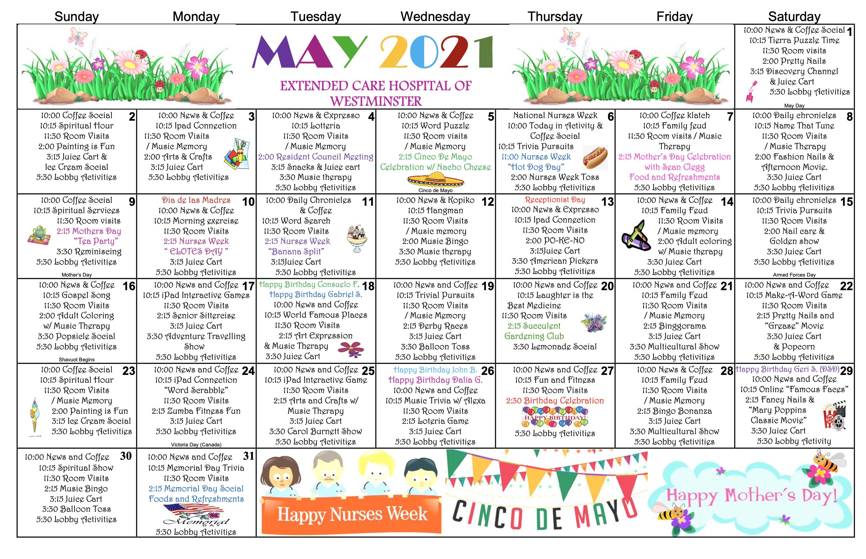 Westminster EC May 2021 Calendar