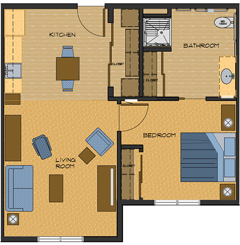 Typical one bedroom 606 sq feet