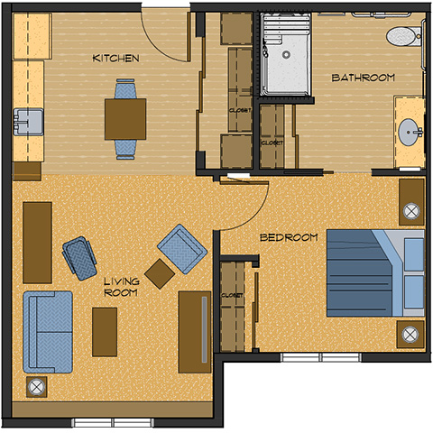 608 sq feet floor plans