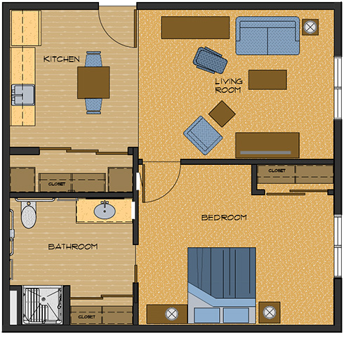 One bedroom 667 sq feet floor plans
