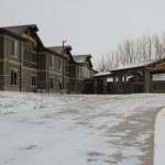 mountain lodge facility in the snow