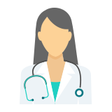 A doctor with a stethoscope icon