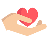 A hand holding a heart icon