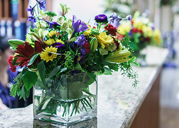 Flowers on the counter