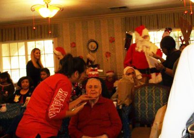 Residents gathered to meet Santa.