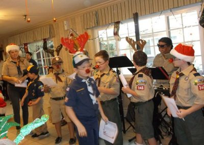 Boy scout troop performing for the residents.