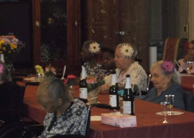 Residents gathered together for a nice dinner and entertainment.