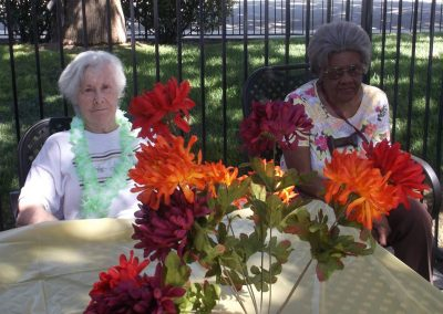 Residents sitting outdoors