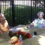 Residents enjoying some refreshments outside