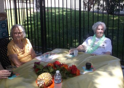 Residents enjoying some refreshments outside