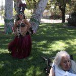 Hawaiian dancing outside