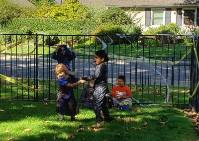 Halloween celebration with children playing