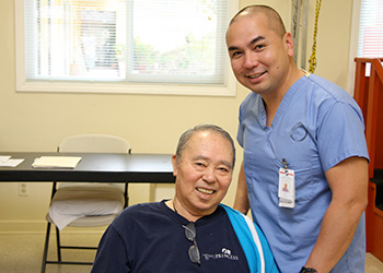 nurse smiling with resident