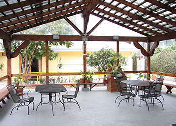 Outside patio area with tables and chairs