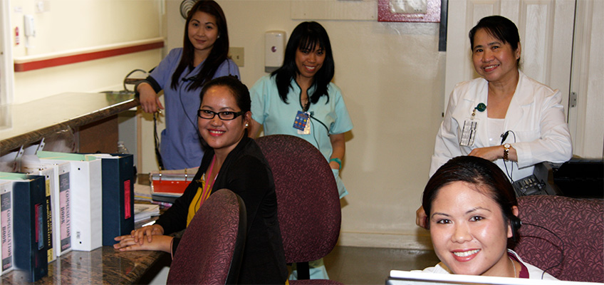 Nurses and doctors together at the office