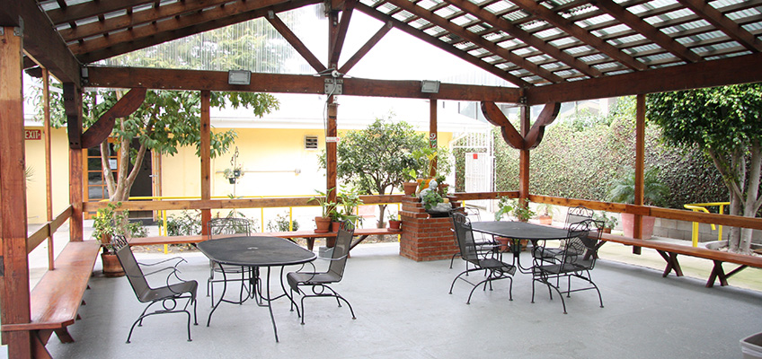 Outside patio with tables and chairs