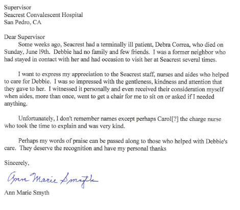 seacrest testimonial thanking the staff for caring for her friend