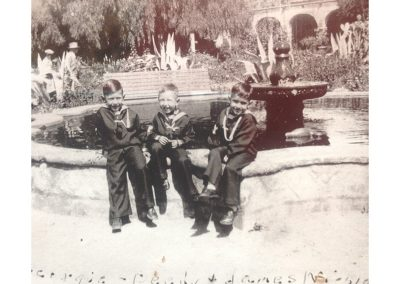 George, Ditty and James Nieblas sitting on the front pond at Old Mission SJC - photo taken around 1929.