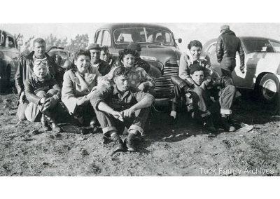 "Early photo of some of the founding members of the Capistrano Eagles Motorcycle club: Priscilla Avila-Tuck, Carl Tuck, Elizabeth ""Quata"" Nieblas, Rita Arce-Nieblas, George Nieblas."
