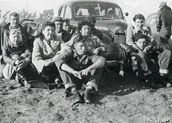 "Early photo of some of the founding members of the Capistrano Eagles Motorcycle club: Priscilla Avila-Tuck, Carl Tuck, Elizabeth ""Quata"" Nieblas, Rita Arce-Nieblas, George Nieblas"