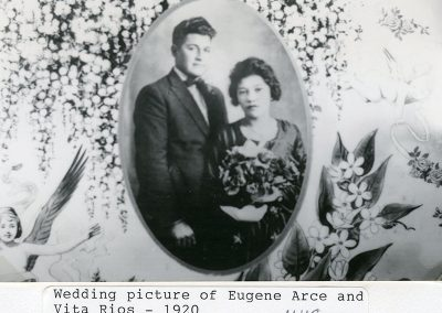 Wedding picture of Eugene Arce and Vita Rios. Grandparents to Gigi, Toby and Dee Nieblas. One of Eugene's brothers, Ben Arce, married Aunt Clemencia Garcia Arce.