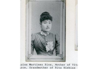 Luisa Martinez Rios. Mother of Vita Rios Arce, Grandmother to Rita Arce Nieblas and Great Grandmother to Gigi, Toby and Dee Nieblas.