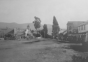 Late 1800s photo of the town of San Juan Capistrano looking south.