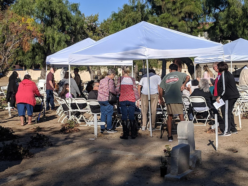 Historic families and friends starting to gather the morning of our November 10th annual Old Mission Historic Cemetery Mass of Remembrance. Almost 200 families and friends gathered for this year's Mass.