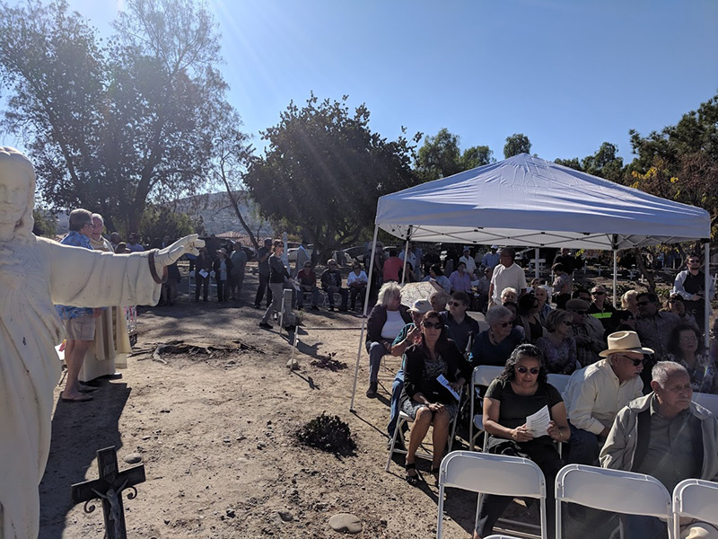 Members of San Juan Capistrano's historic families and friends arriving before the start of out Mass of Remembrance. Almost 200 families and friends attended this year's Mass and Gathering.