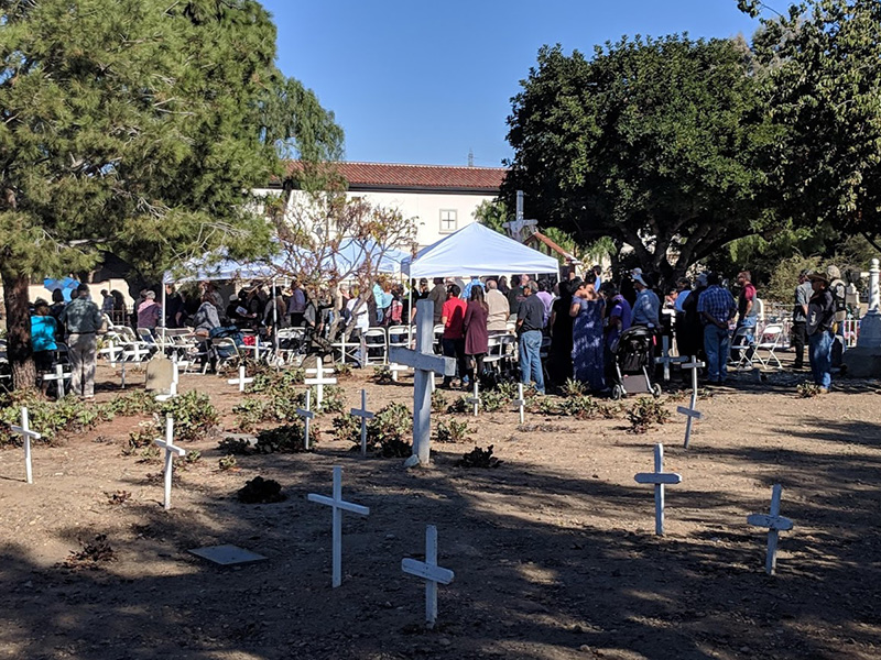 San Juan Capistrano historic families and friends stand to welcome the Mass Celebrant Priests, Entrance Procession and annual Crowning of the statue of the Blessed Mother. The statue of Our Lady of Grace stands near our Altar and watches over our historical burial sites. The special traditional rose and fern crown is handmade every year by Ruth Lobo, a pre-Mission descendant family of Mission San Juan Capistrano.