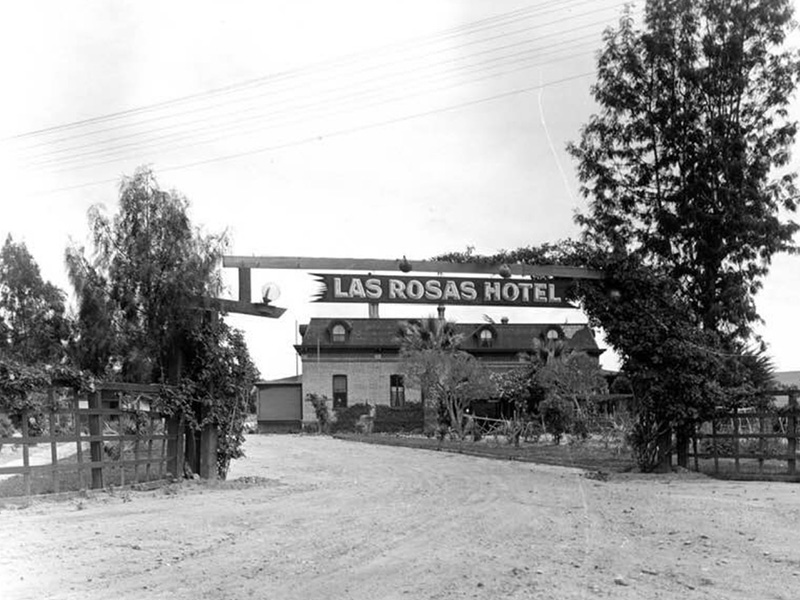 Another later 1930s photo of the famous Las Rosas family home and Early California Spanish restaurant of Joe and Ventura Garcia Nieblas and sons.
