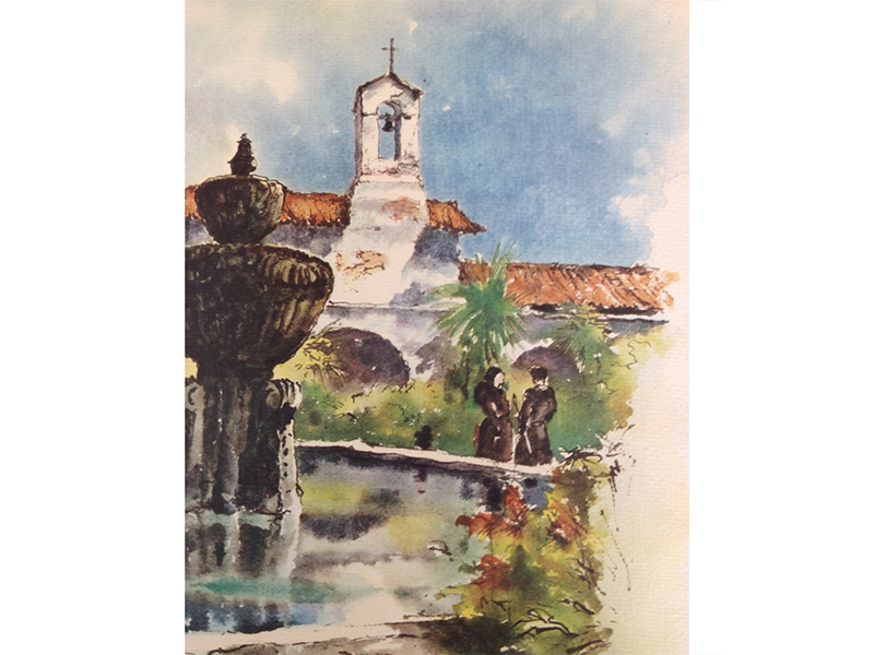 """This is a watercolor painting of the first Old Mission San Juan Capistrano Rectory (residence for the Mission Fathers), the first Old Mission School bell (this was the school bell used at the time Floyd """"Ditty"""" Nieblas went to Old Mission School) (also the town bell that was rung during times of emergency events in the local community). Much later on it became the office for Floyd """"Ditty"""" Nieblas when he was the Old Mission Business Manager. So MANY good and happy stories and memories!"""