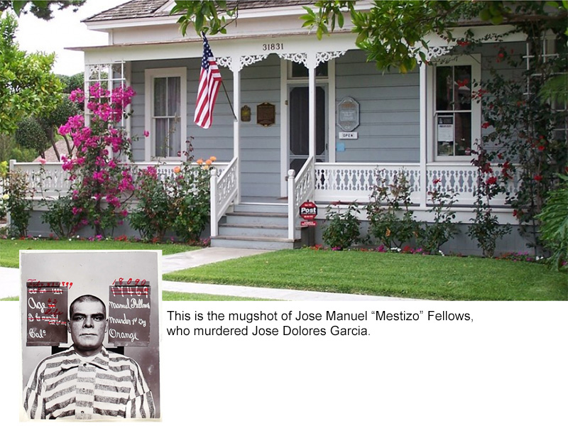 """As a gift to his wife, San Juan Capistrano's first Victorian-style home was built between 1870-1880. Jose Dolores Garcia traveled by horseback to northern Orange County seeking ideas because his wife, Maria Refugia Yorba Garcia, having been born in an Adobe on the great Rancho Yorba, had her sights set on something different..and it couldn't be found in San Juan Capistrano. Jose was the great-great grandson of Maria Bernarda Chigilia (a Juaneno woman from the ancient village of Putuidem.) Jose provided well for Maria. He was a merchant and saloon keeper in town. During their time in the home, you often found Jose & Maria sharing early California hospitality. From local musicians playing traditional early Californio music to meals that overflowed on the tables, many families gathered in the warmth that emulated from its walls. Tragically, on a warm summer evening in 1897, Jose Dolores Garcia was murdered with one shot from a Winchester rifle. The man who shot him was Jose Manuel """"Mestizo"""" Fellows. Generations-old family stories say Mestizo was paid by three local land owners to assassinate Jose in order to get his vast land holdings - a local priest documented the term 'assassinado' in the death record at Mission San Juan Capistrano. In 1903, Maria sold their home to her brother Miguel and his wife, Theresa Pryor Yorba. Because of the generosity of many historical families, a plaque now hangs at the entrance of the home honoring their memory. It is recognized as the Garcia-Pryor home on the National Registry of Historical Buildings. With pride, Jose's great-great grandson, Jerry Nieblas, keeps Jose and Maria's memory alive for future generations."""