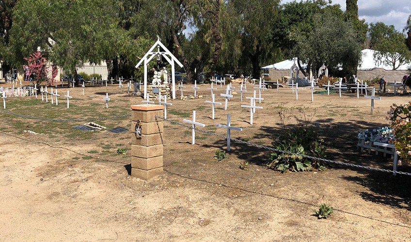 New crosses in the children's section of the cemetery.