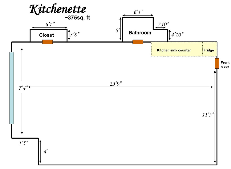 Kitchenette apartment floor plans showing 375 square feet.
