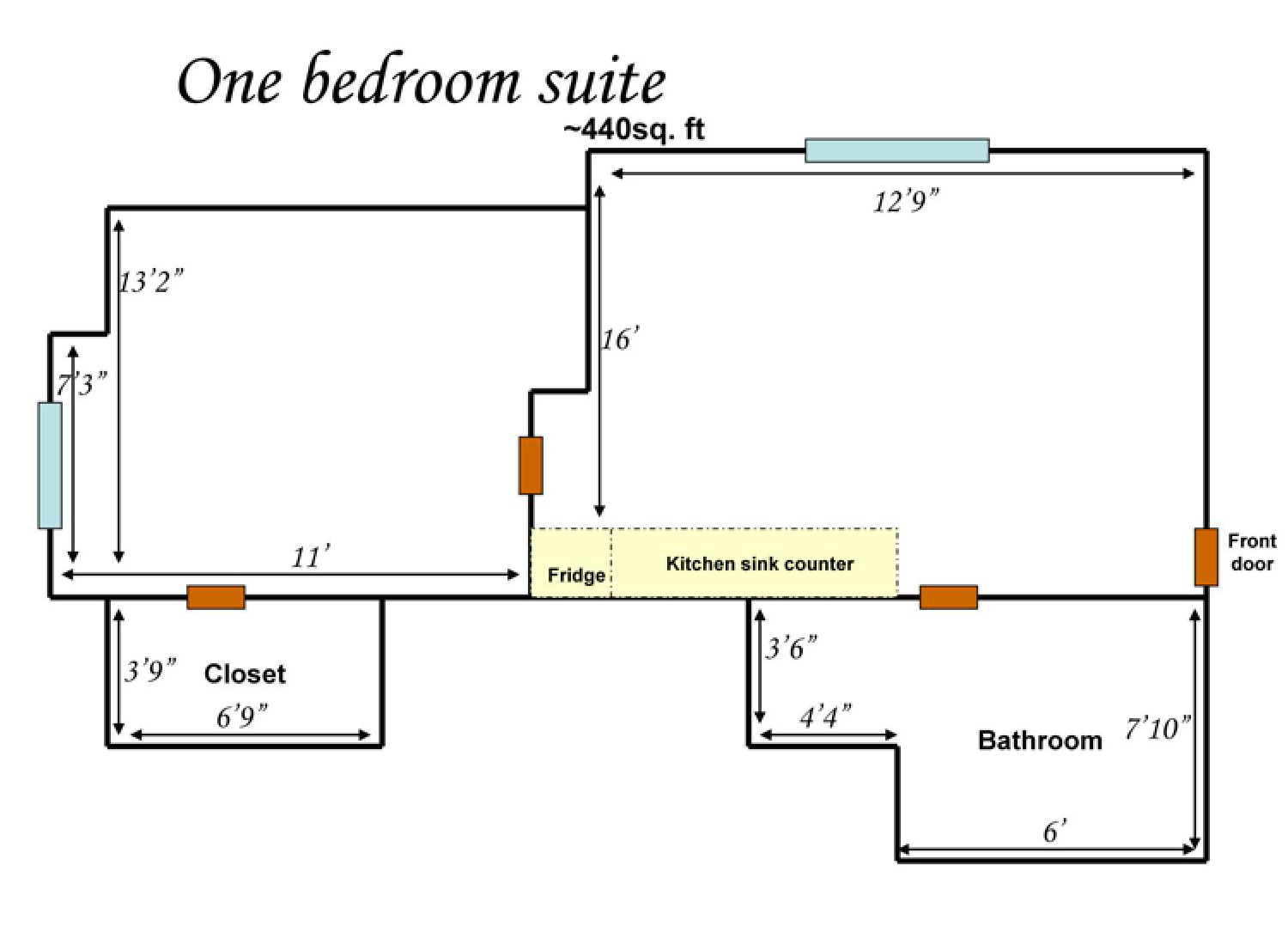 One-bedroom floor plans showing 440 square feet of space for a closet, bathroom, kitchen and bedroom.