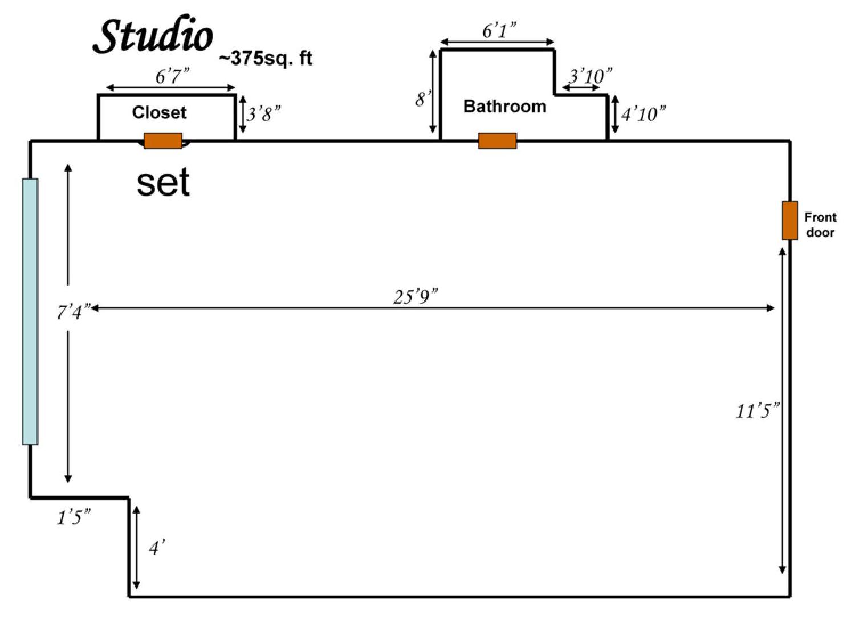 Studio floor plans showing 375 square feet for a studio apartment.