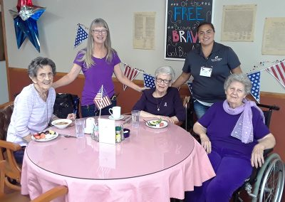staff and residents celebrating the 4th of July
