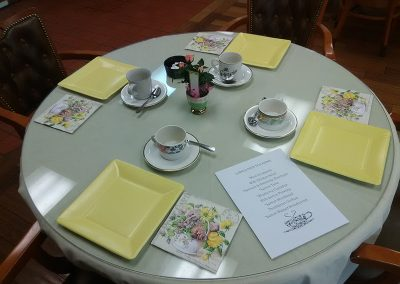 Table ready for residents to celebrate high tea