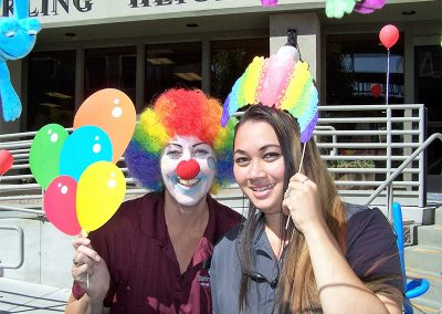staff member dressed up as a clown