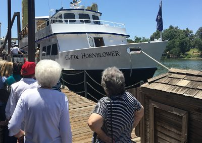 Residents visiting the Capitol Hornblower boat
