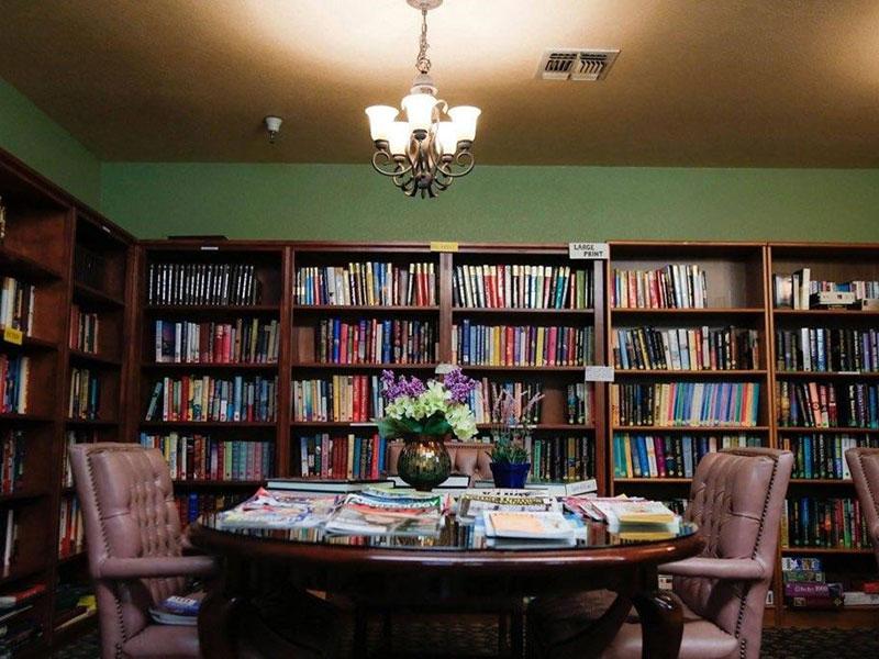 Sierra Regency library full of books and magazines