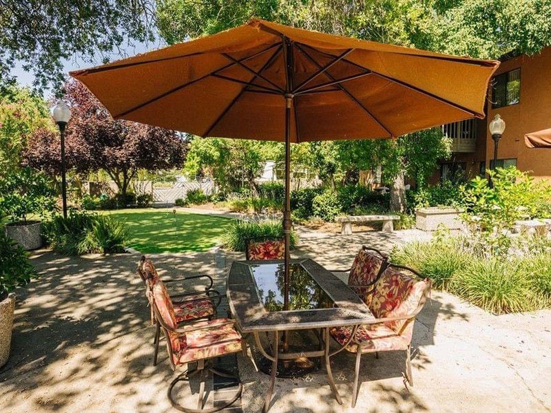Sierra Regency outdoor seating, table and awning